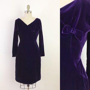 60s Purple Velvet Long Sleeve Vintage Dress Sexy